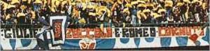 Striscione esposto allo stadio durante l'incontro Napoli-Verona