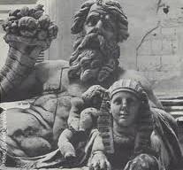 La statua del Nilo in una foto degli Anni Cinquanta